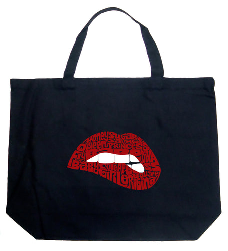 LA Pop Art Large Word Art Tote Bag - Savage Lips