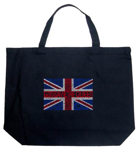 LA Pop Art Large Word Art Tote Bag - God Save The Queen