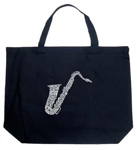LA Pop Art Large Word Art Tote Bag - Sax