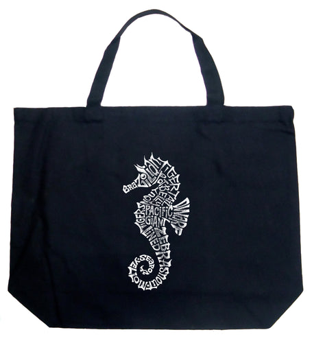 LA Pop Art Large Word Art Tote Bag - Types of Seahorse