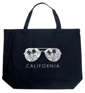 LA Pop Art Large Word Art Tote Bag - California Shades