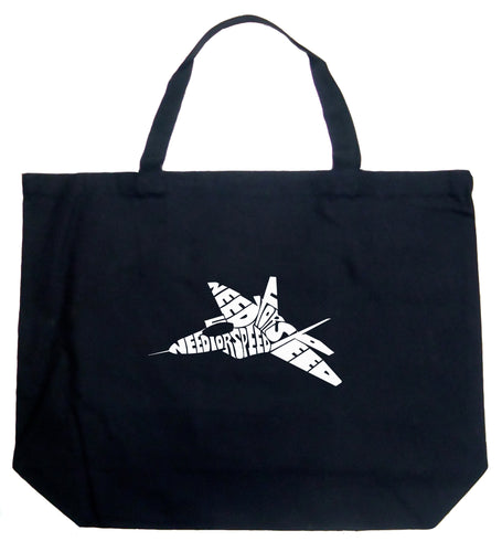 LA Pop Art Large Word Art Tote Bag - FIGHTER JET - NEED FOR SPEED