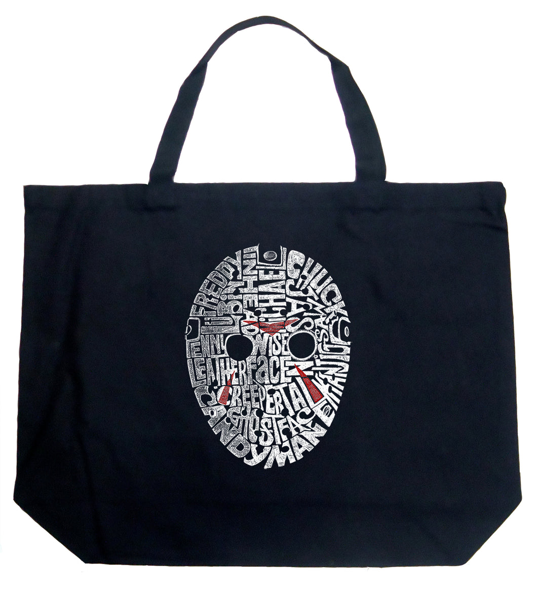 LA Pop Art Large Word Art Tote Bag - Slasher Movie Villians