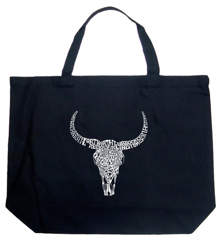 LA Pop Art Large Word Art Tote Bag - Texas Skull