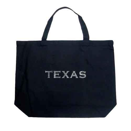 LA Pop Art Large Word Art Tote Bag - THE GREAT CITIES OF TEXAS