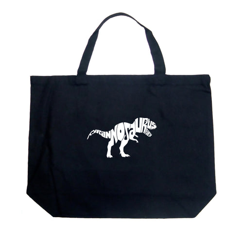 LA Pop Art Large Word Art Tote Bag - TYRANNOSAURUS REX