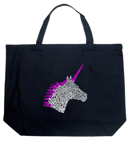 LA Pop Art Large Word Art Tote Bag - Unicorn