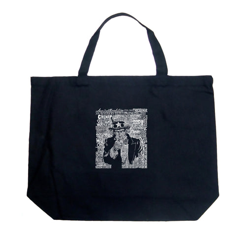LA Pop Art Large Word Art Tote Bag - UNCLE SAM