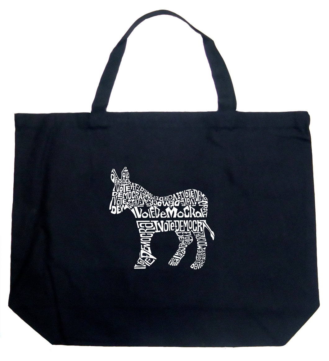 LA Pop Art Large Word Art Tote Bag - I Vote Democrat