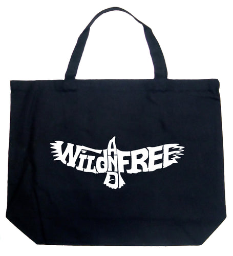 LA Pop Art Large Word Art Tote Bag - Wild and Free Eagle