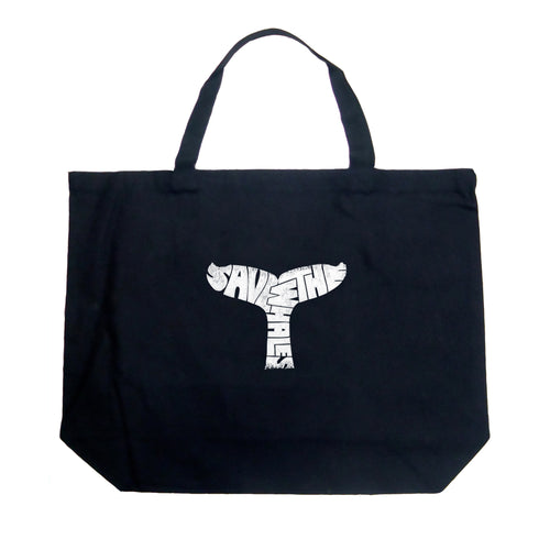 LA Pop Art Large Word Art Tote Bag - SAVE THE WHALES