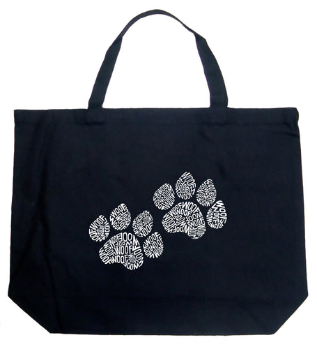 LA Pop Art Large Word Art Tote Bag - Woof Paw Prints