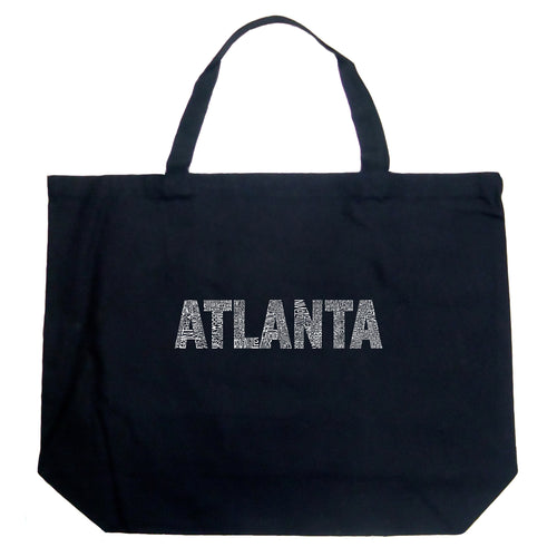 LA Pop Art Large Word Art Tote Bag - ATLANTA NEIGHBORHOODS