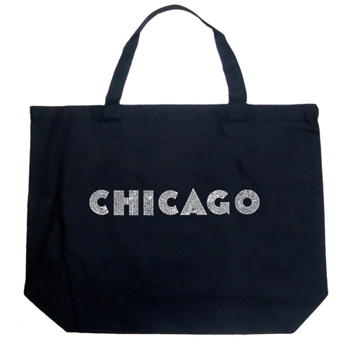 LA Pop Art Large Word Art Tote Bag - CHICAGO NEIGHBORHOODS