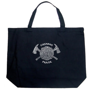 LA Pop Art Large Word Art Tote Bag - FIREMAN'S PRAYER