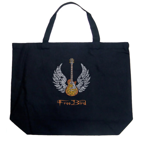 LA Pop Art Large Word Art Tote Bag - LYRICS TO FREE BIRD