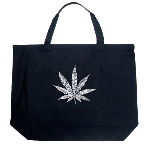 LA Pop Art Large Word Art Tote Bag - 50 DIFFERENT STREET TERMS FOR MARIJUANA