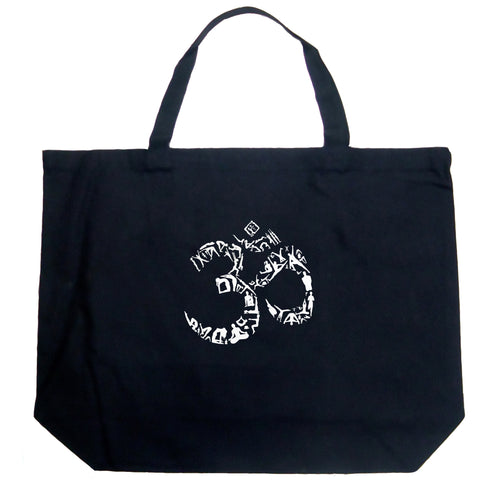 LA Pop Art Large Word Art Tote Bag - THE OM SYMBOL OUT OF YOGA POSES