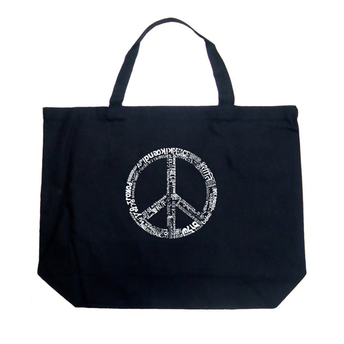 LA Pop Art Large Word Art Tote Bag - THE WORD PEACE IN 77 LANGUAGES
