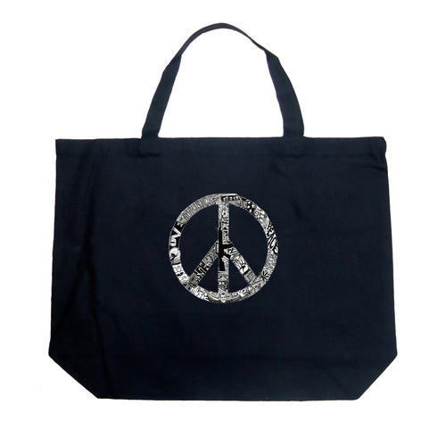 LA Pop Art Large Word Art Tote Bag - PEACE, LOVE, & MUSIC