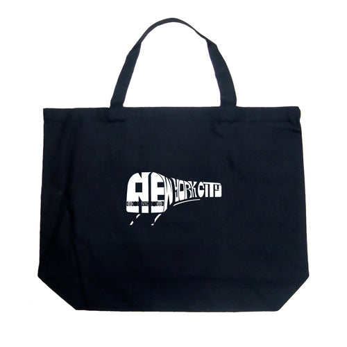 LA Pop Art Large Word Art Tote Bag - NY SUBWAY