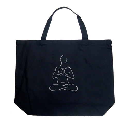 LA Pop Art Large Word Art Tote Bag - POPULAR YOGA POSES