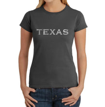 Load image into Gallery viewer, LA Pop Art Women's Word Art T-Shirt - THE GREAT CITIES OF TEXAS