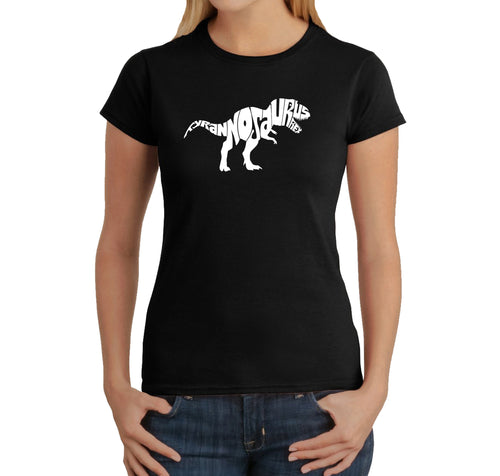 LA Pop Art Women's Word Art T-Shirt - TYRANNOSAURUS REX