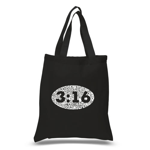 LA Pop Art Small Word Art Tote Bag - John 3:16