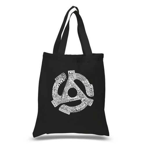 LA Pop Art Small Word Art Tote Bag - Record Adapter