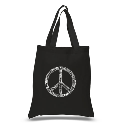 LA Pop Art Small Word Art Tote Bag - THE WORD PEACE IN 77 LANGUAGES