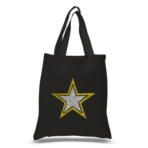 LA Pop Art Small Word Art Tote Bag - LYRICS TO THE ARMY SONG