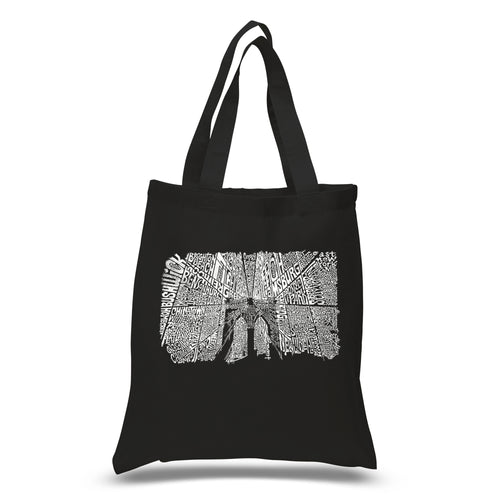 LA Pop Art Small Word Art Tote Bag - Brooklyn Bridge