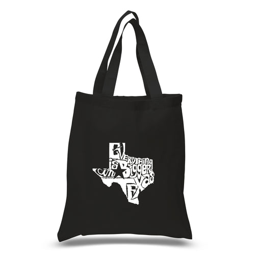 LA Pop Art Small Word Art Tote Bag - Everything is Bigger in Texas