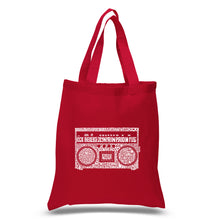 Load image into Gallery viewer, LA Pop Art Small Word Art Tote Bag - Greatest Rap Hits of The 1980's
