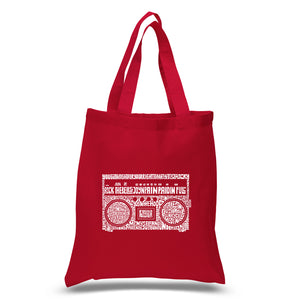 LA Pop Art Small Word Art Tote Bag - Greatest Rap Hits of The 1980's