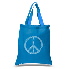 Load image into Gallery viewer, LA Pop Art Small Word Art Tote Bag - EVERY MAJOR WORLD CONFLICT SINCE 1770