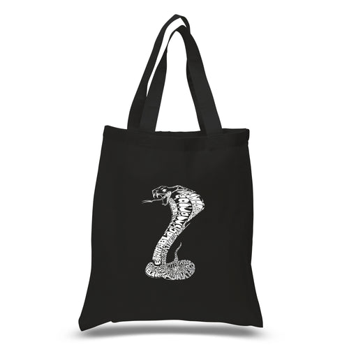 LA Pop Art Small Word Art Tote Bag - Types of Snakes