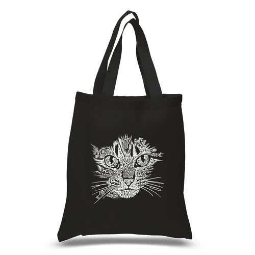 LA Pop Art Small Word Art Tote Bag - Cat Face