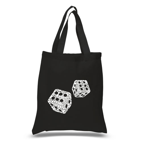 LA Pop Art Small Word Art Tote Bag - DIFFERENT ROLLS THROWN IN THE GAME OF CRAPS