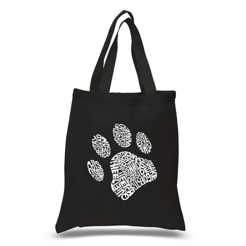 LA Pop Art Small Word Art Tote Bag - Dog Paw