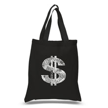 Load image into Gallery viewer, LA Pop Art Small Word Art Tote Bag - Dollar Sign