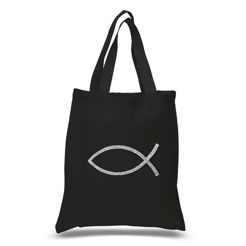 LA Pop Art Small Word Art Tote Bag - JESUS FISH