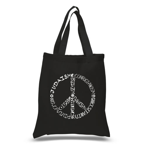LA Pop Art Small Word Art Tote Bag - Different Faiths peace sign