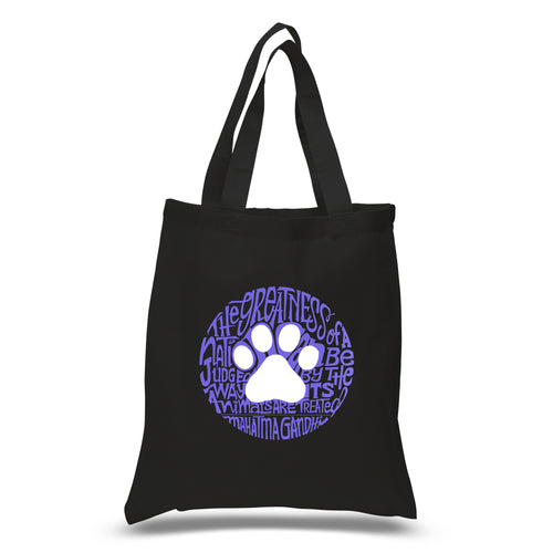 LA Pop Art Small Word Art Tote Bag - Gandhi's Quote on Animal Treatment