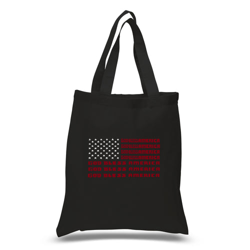 LA Pop Art Small Word Art Tote Bag - God Bless America