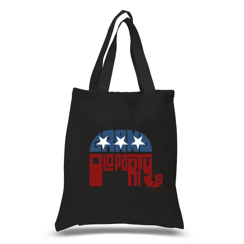 LA Pop Art Small Word Art Tote Bag - REPUBLICAN - GRAND OLD PARTY