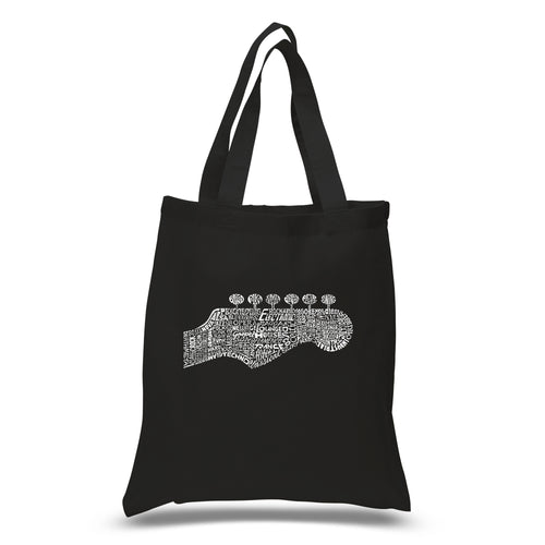 LA Pop Art Small Word Art Tote Bag - Guitar Head