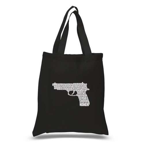 LA Pop Art Small Word Art Tote Bag - RIGHT TO BEAR ARMS