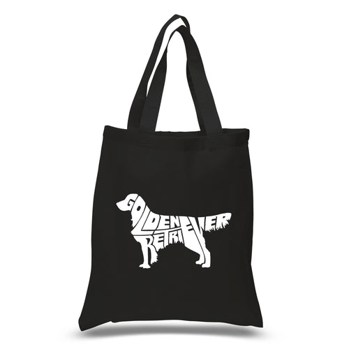 LA Pop Art Small Word Art Tote Bag - Golden Retreiver